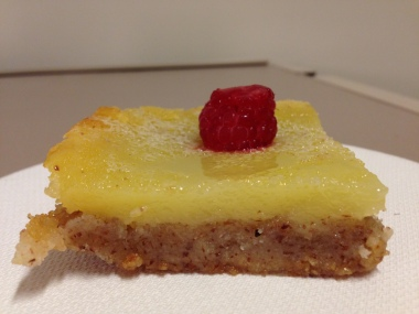 lemon bar with an almond shortbread crust